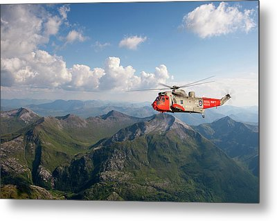 Metal Print featuring the digital art Royal Navy Sar Sea King by Pat Speirs