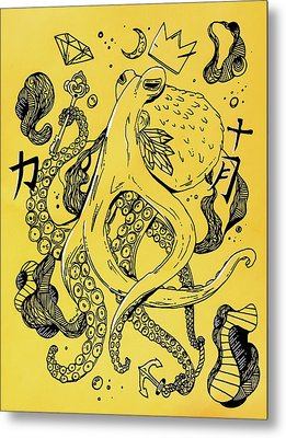 Royal Octopus Canary Yellow Metal Print by Kenal Louis