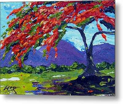 Royal Poinciana Palette Oil Painting Metal Print by Maria Soto Robbins