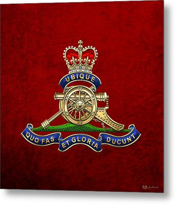 Royal Regiment Of Canadian Artillery - Rca Badge On Red Leather Metal Print by Serge Averbukh