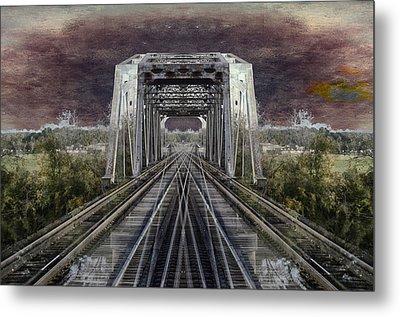 Rr Bridge Textured Composite Metal Print by Thomas Woolworth