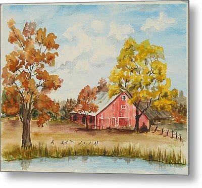 Rt 66 Barn In Bristow Oklahoma Metal Print by Judy Loper