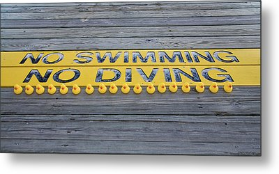 Rubber Duck Swim Team Protest Metal Print by Shelly Stallings