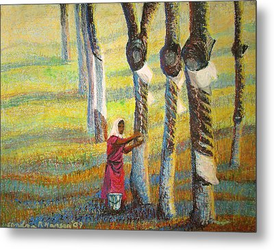 Rubber Tapping At Dawn Metal Print by Art Nomad Sandra  Hansen