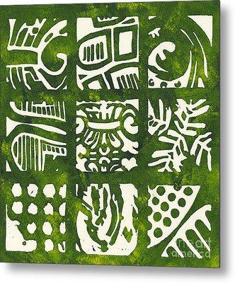 Rubbing Patterns Linocut Metal Print