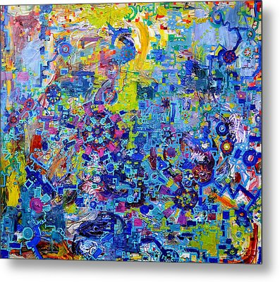 Rube Goldberg Abstract Metal Print by Regina Valluzzi