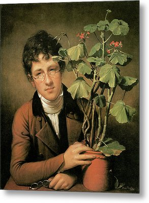 Rubens Peale With A Geranium Metal Print by Charles Willson Peale