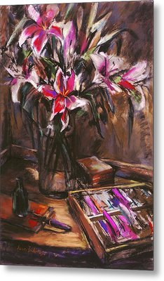 Rubirosa Lilies Metal Print by Joan  Jones