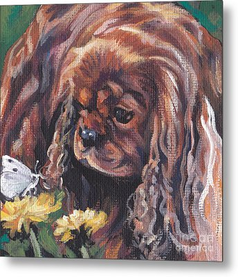 Metal Print featuring the painting Ruby Cavalier King Charles Spaniel by Lee Ann Shepard