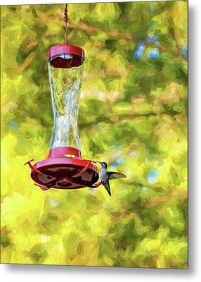Ruby-throated Hummingbird 2 - Impasto Metal Print