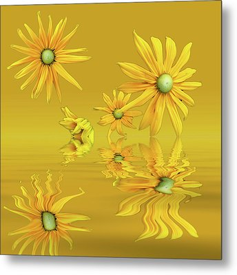 Metal Print featuring the photograph Rudbekia Yellow Flowers by David French