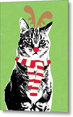 Rudolph The Red Nosed Cat- Art By Linda Woods Metal Print by Linda Woods
