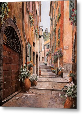 rue Malonat in  Nice  Metal Print by Guido Borelli