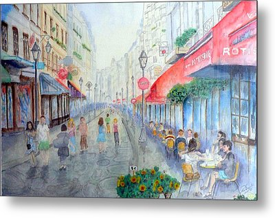 Rue Montorgueil Paris Right Bank Metal Print by Dan Bozich