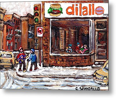 Rue Notre Dame Montreal Winter Street Scene Paintings Dilallo Burger Hockey Scenes Canadian Art Metal Print by Carole Spandau