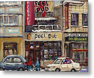 Rue Peel Montreal Winter Street Scene Paintings Peel Pub Cafe Republique Hockey Scenes Canadian Art Metal Print by Carole Spandau