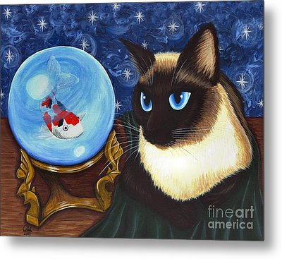 Metal Print featuring the painting Rue Rue's Fortune - Siamese Cat Koi by Carrie Hawks