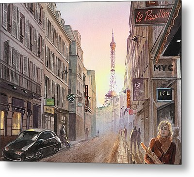 Rue Saint Dominique Paris France View On Eiffel Tower Sunset Metal Print