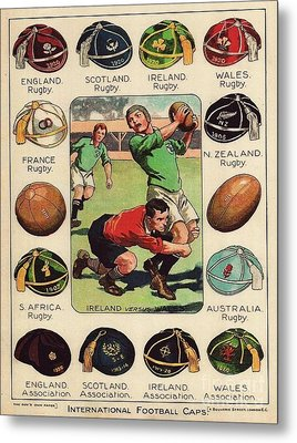 Rugby - Football Caps Metal Print by Roberto Prusso