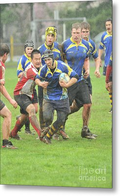 Rugby In The Mud Metal Print
