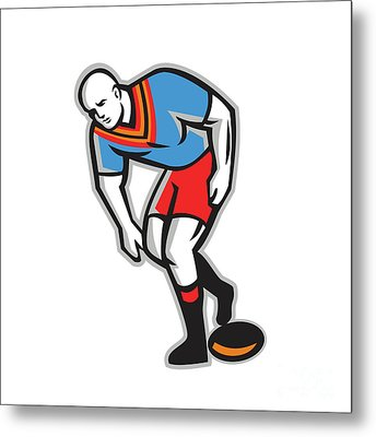 Rugby League Player Playing Ball Retro Metal Print