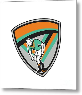 Rugby League Player Playing Ball Shield Retro Metal Print