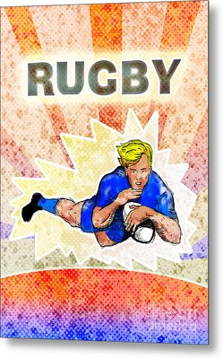 Rugby Player Diving To Score A Try Metal Print by Aloysius Patrimonio