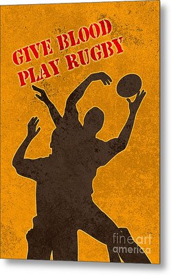 Rugby Player Jumping Catching Ball In Lineout Metal Print by Aloysius Patrimonio