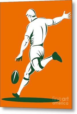 Rugby Player Kicking Metal Print by Aloysius Patrimonio