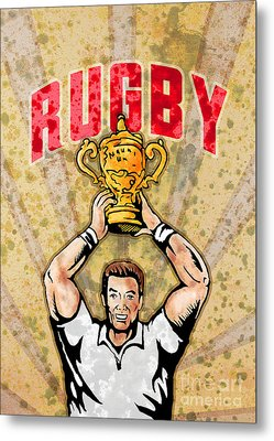 Rugby Player Raising Championship World Cup Trophy Metal Print by Aloysius Patrimonio