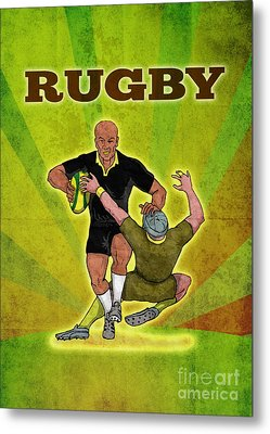 Rugby Player Running Attacking With Ball Metal Print by Aloysius Patrimonio