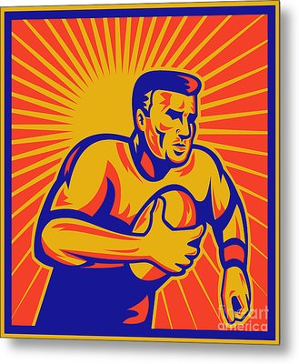 Rugby Player Running With Ball Metal Print