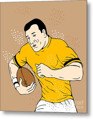 Rugby Player Runningwith The Ball Metal Print by Aloysius Patrimonio