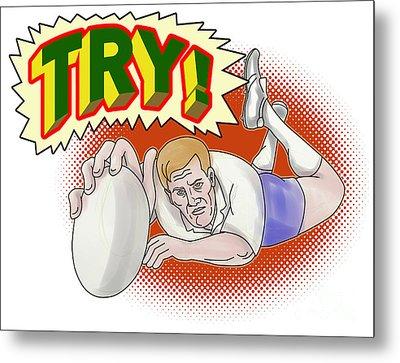 Rugby Player Scoring A Try Metal Print by Aloysius Patrimonio