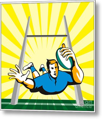 Rugby Player Try Metal Print by Aloysius Patrimonio