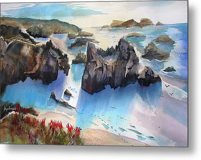 Marin Lovers Coastline Metal Print
