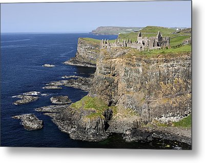 Ruins Of Dunluce Castle On The Sea Cliffs Of Northern Ireland Metal Print by Pierre Leclerc Photography