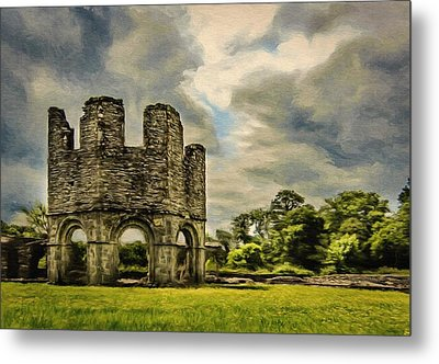 Metal Print featuring the painting Ruins Of Mellifont Abbey by Jeff Kolker