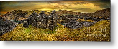 Ruins Of Snowdonia Panorama Metal Print by Adrian Evans