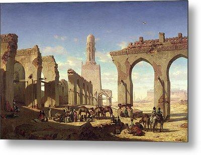 Ruins Of The Mosque Of The Caliph El Haken In Cairo Metal Print by Prosper Georges Antoine Marilhat