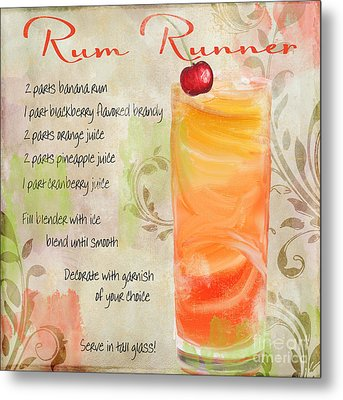 Rum Runner Mixed Cocktail Recipe Sign Metal Print by Mindy Sommers