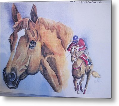 Run For The Cup Metal Print by Peg Whiting