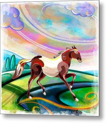 Runaway Horse Metal Print by Bedros Awak