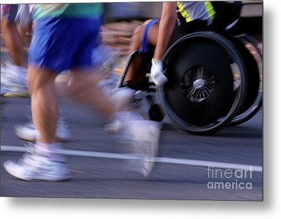 Runners And Disabled People In Wheelchairs Racing Together Metal Print by Sami Sarkis