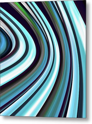 Metal Print featuring the digital art Running Blue by Wendy J St Christopher