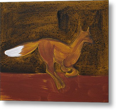 Running Fox In Iron Oxide And Lime Metal Print by Sophy White
