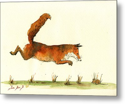 Running Fox Metal Print by Juan  Bosco