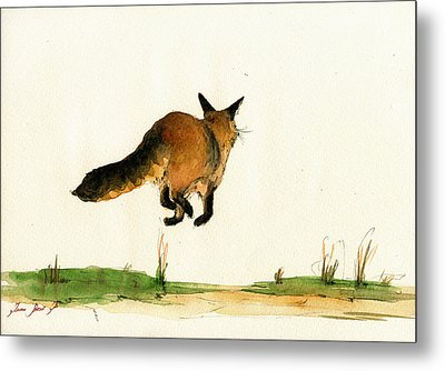 Running Fox Painting Metal Print by Juan  Bosco