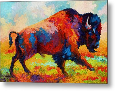 Running Free - Bison Metal Print by Marion Rose