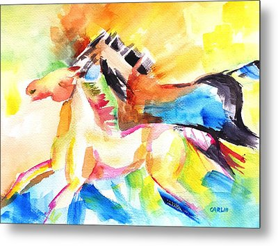 Running Horses Color Metal Print by Carlin Blahnik